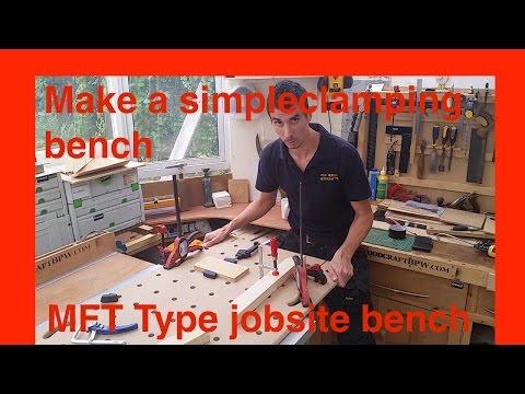 Simple DIY Shopmade Portable jobsite MFT slab worktable for saw horses or trestles