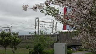 桜とJR東海道新幹線下りN700S JR静岡駅~JR掛川駅間
