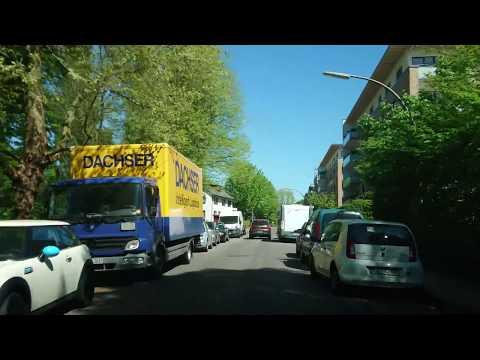 Driving across green Hamburg 4K May 2018