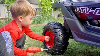 Arthur unboxing and assembling a new car / Ride on power wheel / Video for kids by MelliArt