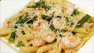 Penne Pasta with Garlic Shrimp - Easy Dinner Recipe