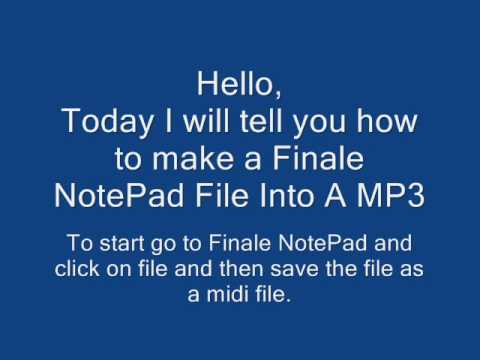 Finale NotePad File Into A MP3