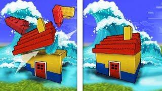 Minecraft | Tsunami Lego Base Challenge - Tsunami Destroys Lego City! (WILL IT BREAK?)