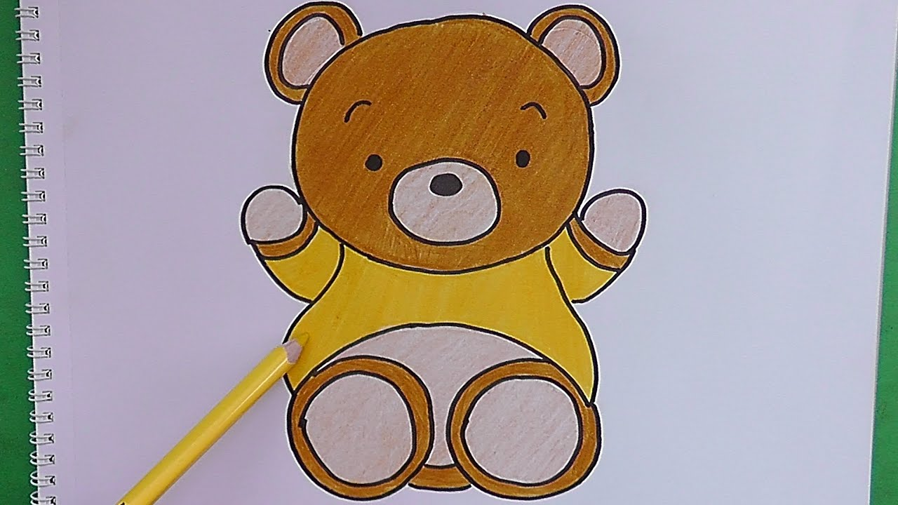 Como dibujar y pintar paso a paso a oso how to draw and for Sala facil de dibujar