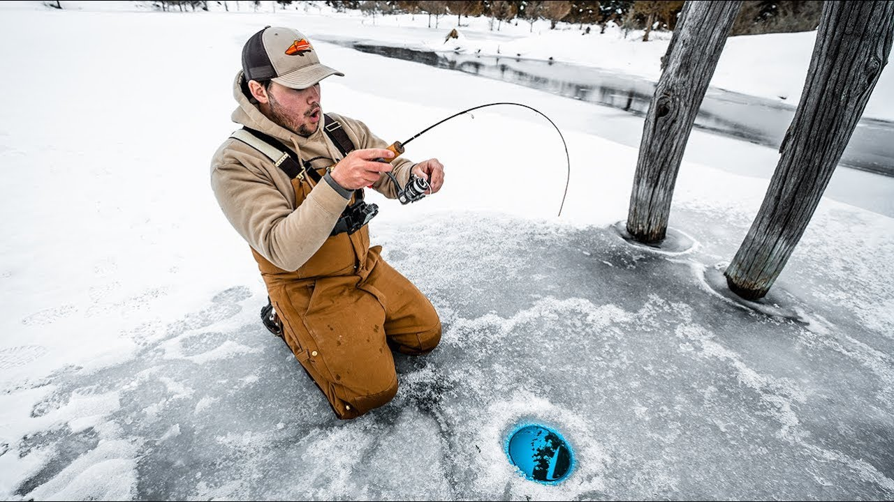 0c489c90328 SURPRISING Catch while Ice Fishing MY NEW POND!!! (CATCH CLEAN COOK ...