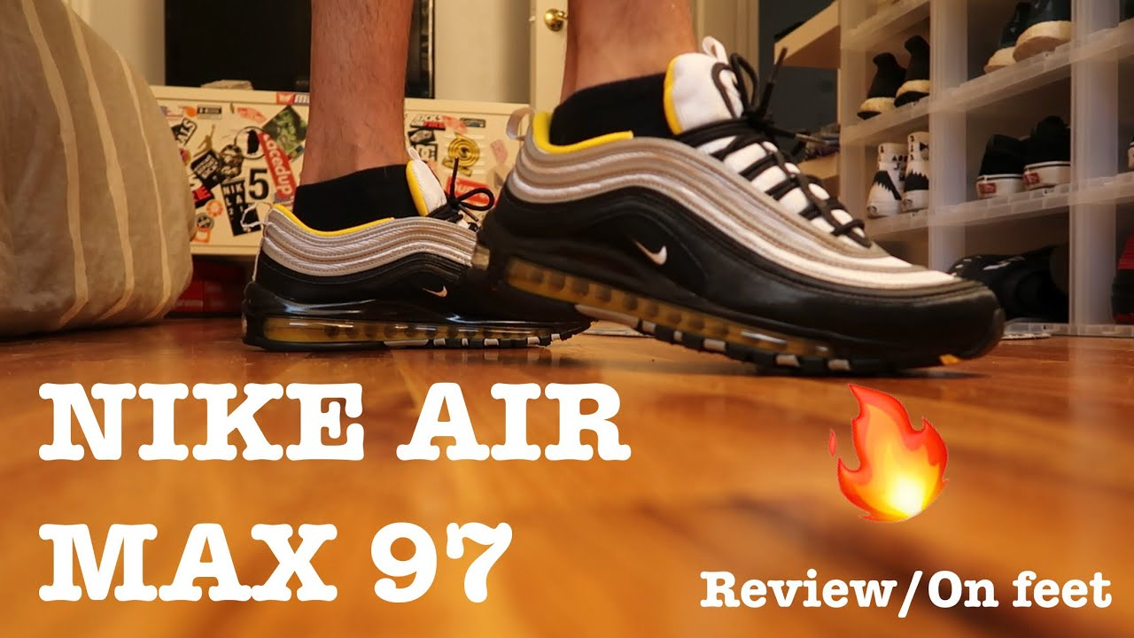 "big sale b8d7d 8197b NIKE AIR MAX 97 ""BLACK YELLOW"" REVIEW ON FEET!!!🔥"
