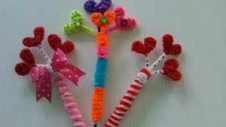 Repeat youtube video PLUMAS ADORNADAS CON CORAZONES (limpia pipas) .PENS WITH HEARTS.