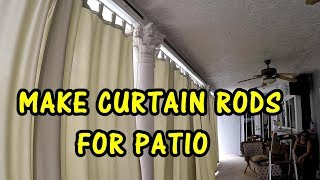 how to make curtain rods for patio and install outdoor curtains