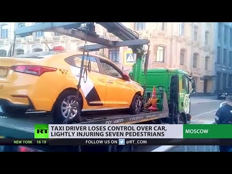 Taxi accidentally drives into crowd in Moscow