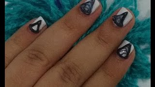 paper quilling black and white nail art
