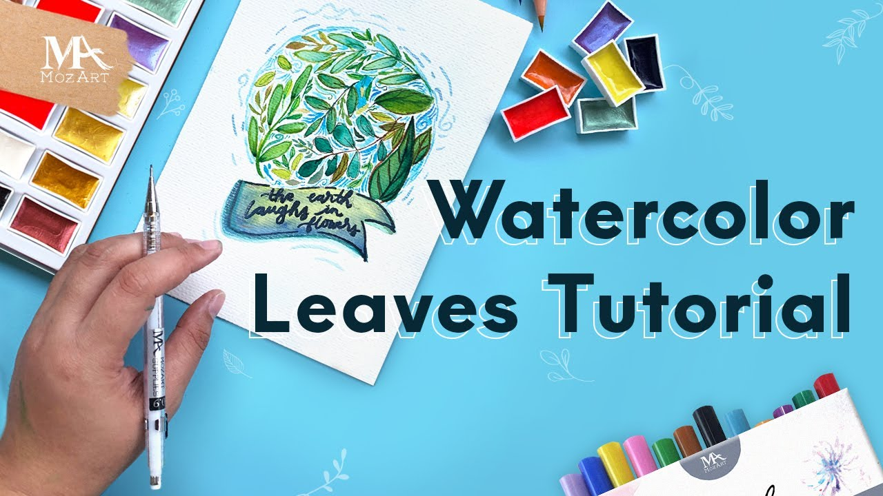 How to paint Watercolor Spring Leaves 💦🍃MozArt Supplies