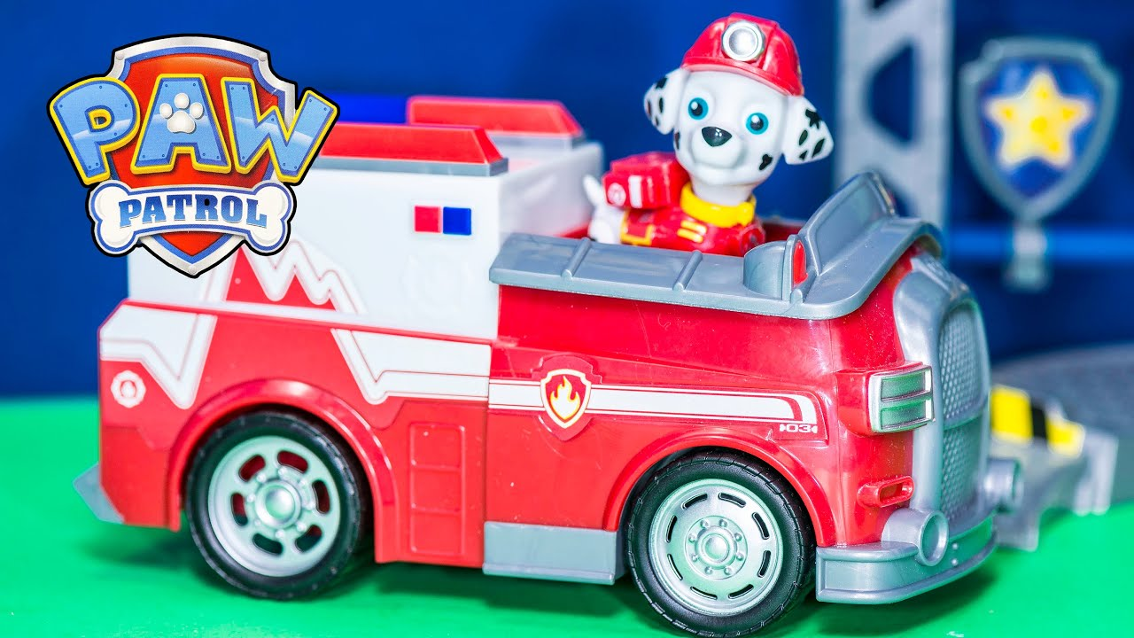 Unboxing the Paw Patrol Rescue Marshall Fire Truck Toys