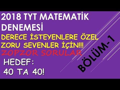TYT Matematik Denemesi (Bölüm-1) DERECE İSTEYENLERE ÖZEL,ZORU SEVENLER İÇİN ZOPZOR SORULAR