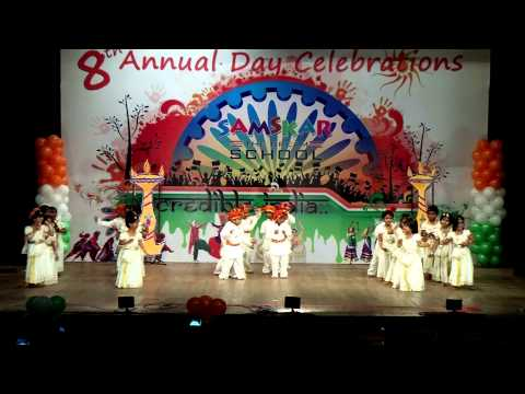 Samskar school madhya pradesh folk dance funnydog tv for Annual day stage decoration images