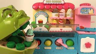 Shrek Mange des Glaces sans le Singe Cornets Esquimaux en Pâte à Modeler