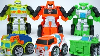 NEW TRANSFORMERS RESCUE BOTS FLIP RACERS CONSTRUCTION SQUAD MORTAR BOULDER SALVAGE FAST AND FUN!