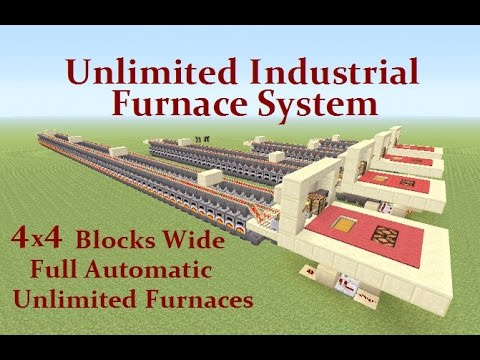 Minecraft Tutorial : (1.8.3) Unlimited Industrial Furnace System Any Size & Fully Automatic
