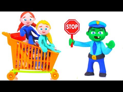SUPERHERO GIRLS ARE STOPPED AT THE SUPERMARKET ❤ SUPERHERO BABIES PLAY DOH CARTOONS FOR KIDS