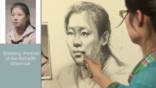 Drawing Portrait of The Girl with Charcoal