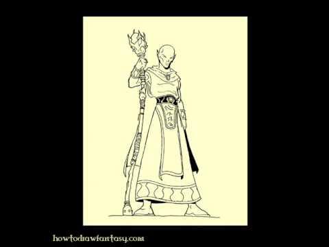 How to draw a wizard sorcerer elf comment dessiner un - Dessiner un elfe ...