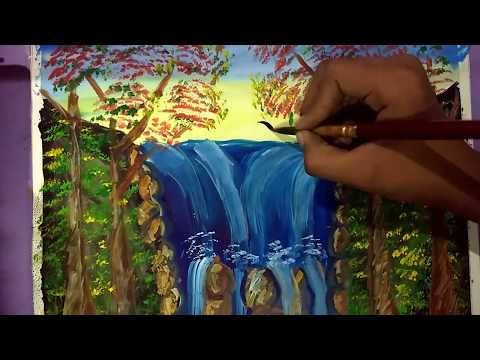 Waterfall Landscape painting for beginners with poster colour ||