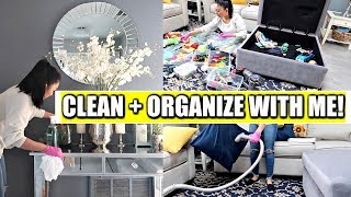 Clean With Me! | Deep Cleaning + Organizing the Living Room Before Christmas Decor!