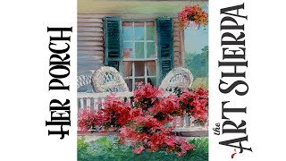 Bougainvillea vine sun porch How to paint with Acrylic on Canvas #playlive #derpsquad thumbnail