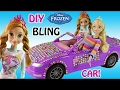 DIY Frozen Elsa Glam Car! How to make Car with Gem Stones! ANNA & ELSA barbie MAKEOVER!