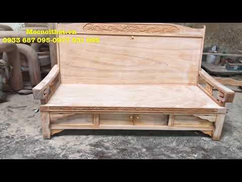 GHẾ SOFA Thành Giường Gỗ SIÊU ĐẲNG CẤP gỗ Bên (gỗ Gõ đỏ)  - Trường Kỷ Li Văng kéo gỗ Bên