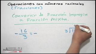 Conversión de fracciones  (mixta a impropia y viceversa)