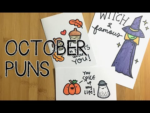 DIY 5 Fall/Halloween Puns Cards~ | Doodle with Me - YouTube