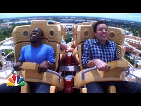 Видео: Jimmy and Kevin Hart Ride a Roller Coaster