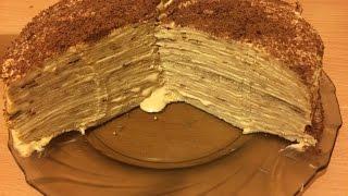 Блинный  торт и  сметанный крем со сгущенкой. Простейший блинный торт.