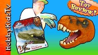 Jurassic World Chomping T-Rex + Velociraptor Head Claws! by HobbyKidsTV