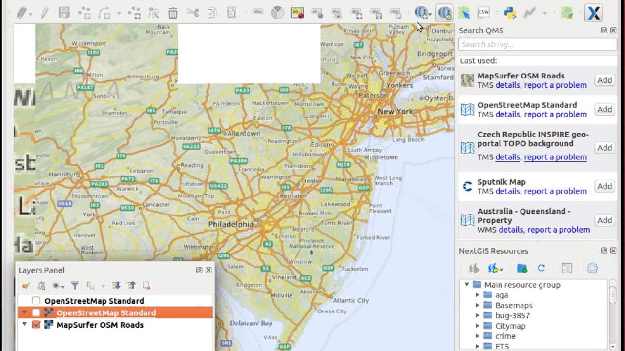 QuickMapServices support for native TMS rendering in QGIS
