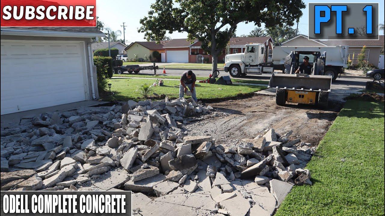 massive concrete driveway demo setup part 1
