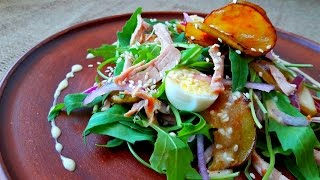 Вкусный салат с грушами и мясом.       Salad with pears with turkey