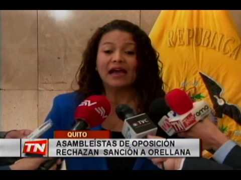 Asambleístas de oposición rechazan sanción a Orellana