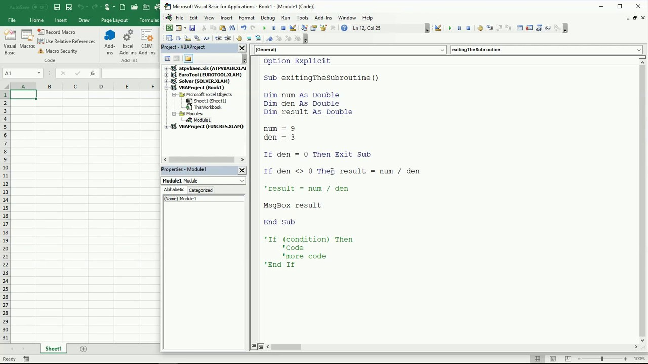 26 Eng Vba Excel How To Use The Exit Sub To Finish A Subroutine
