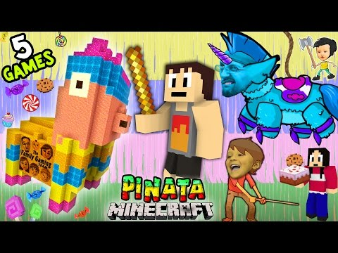 5 PINATA GAMES w/ Baby Shawn! Minecraft Mini-Game w/ Warriors & Hunters (FGTEEV CINCO DE MAYO FUN!)