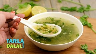 Lemon and Coriander Soup (Vitamin C Rich) by Tarla Dalal