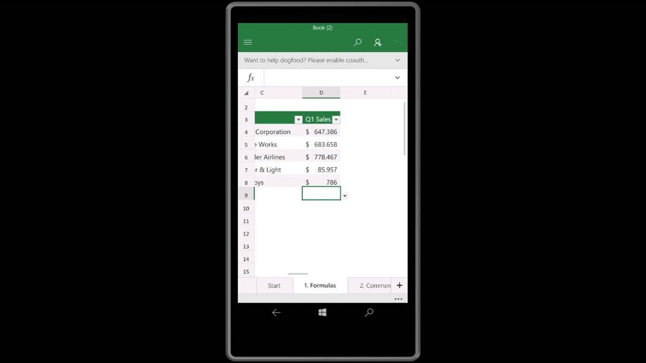 excel mobile windows 10 on lumia 640 xl