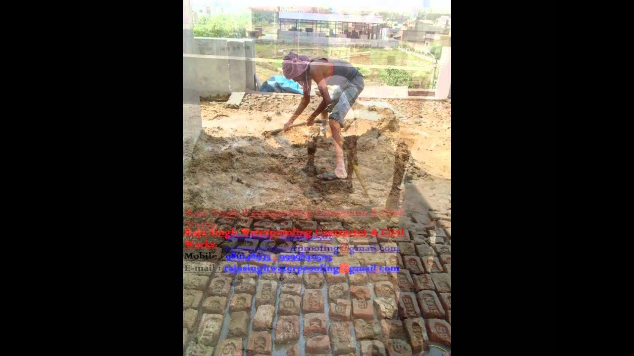 Brick Bat Coba Processing On Roof By Raju Singh Building Waterproofing Contractors