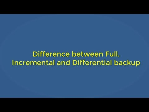 Difference between Full, Incremental and Differential Backup