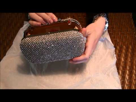 Gold Crystal Bow Closure Clutch Purse Cocktail Bag with Rhinestone Crystals