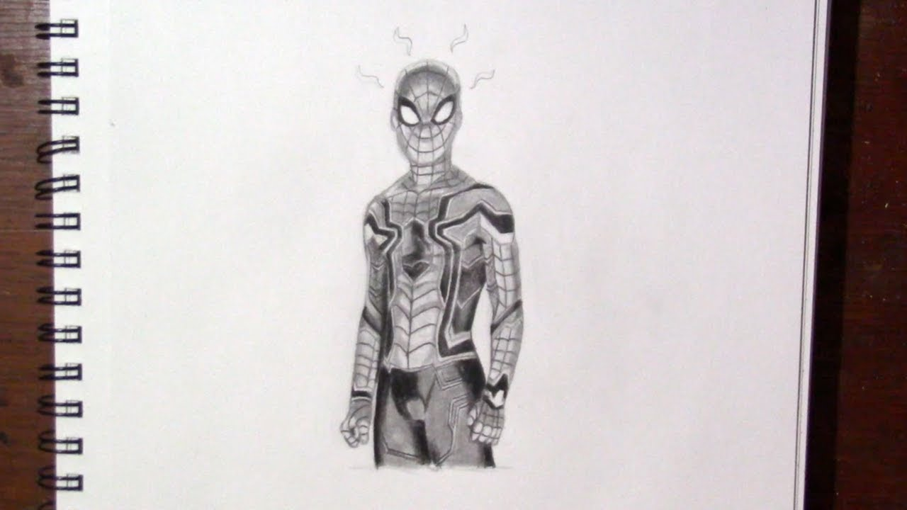 How To Draw Spiderman In His Iron Spider Suit Speed Drawing Youtube