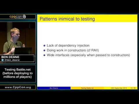 """CppCon 2015: Ben Deane """"Testing Battle.net (before deploying to millions of players)"""""""