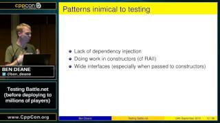 "CppCon 2015: Ben Deane ""Testing Battle.net (before deploying to millions of players)"""