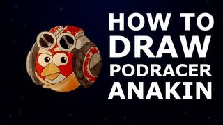 How to draw Angry Birds Star Wars 2 - Anakin Skywalker Podracer