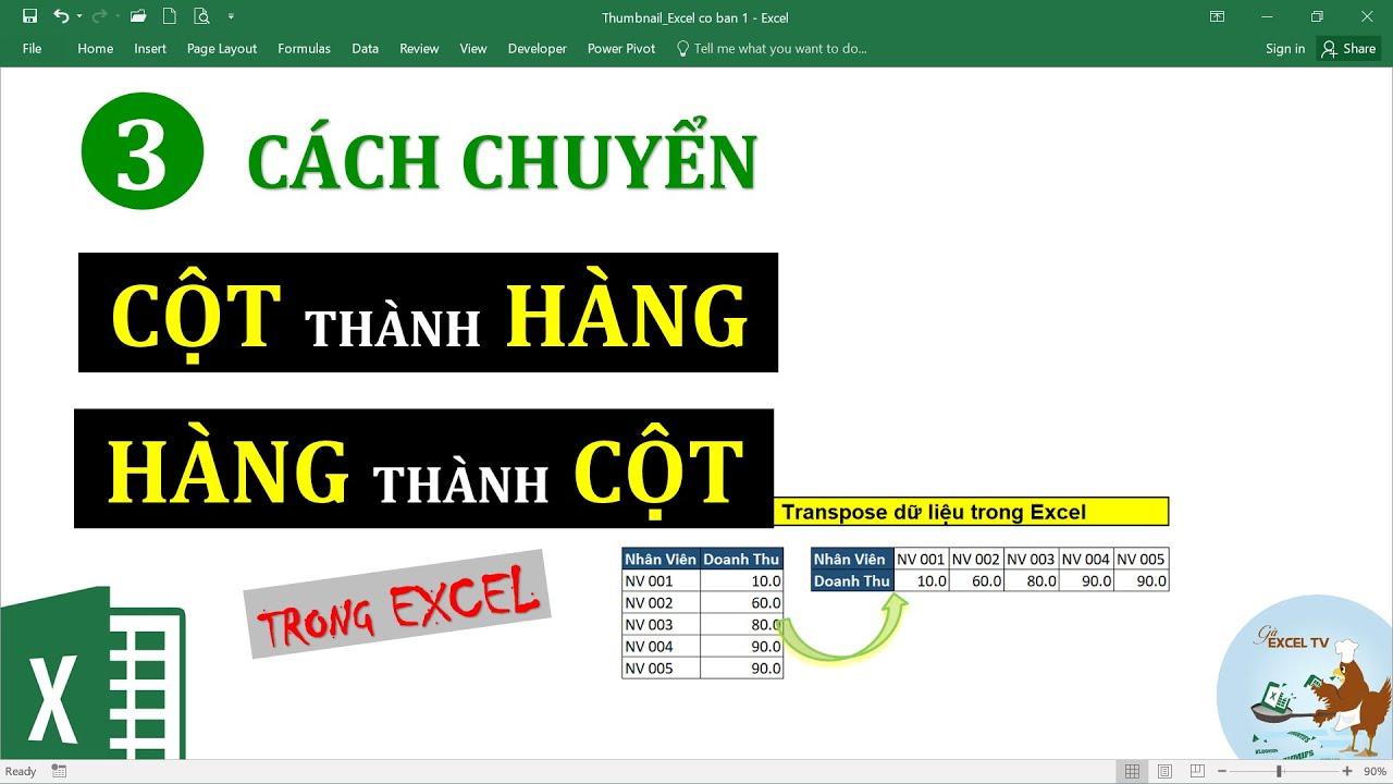 3 cách chuyển cột thành hàng, hàng thành cột trong Excel